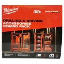 Milwaukee akciós fémfúró shockwave HSS-G TIN RED HEX és 33 darabos bit és dugókulcs készlet