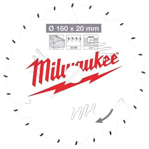 Milwaukee vezetékes és akkumulátoros kéziszerszámokhoz optimalizált körfűrészlap CSB P W 160 x 20 x 2,2 x 24ATB   (4932471290)