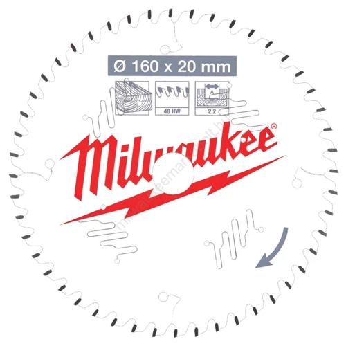 Milwaukee vezetékes és akkumulátoros kéziszerszámokhoz optimalizált körfűrészlap CSB P W 160 x 20 x 2,2 x 48ATB | (4932471291)