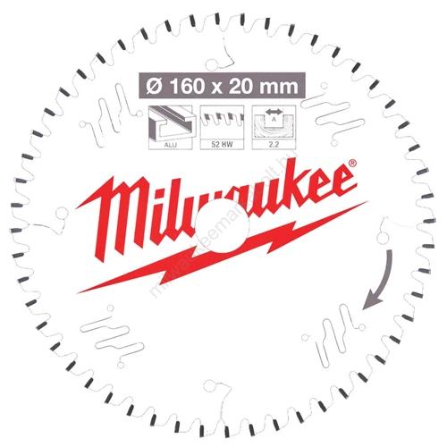 Milwaukee vezetékes és akkumulátoros kéziszerszámokhoz optimalizált körfűrészlap CSB P Alu 160 x 20 x 2,2 x 52TF | (4932471292)