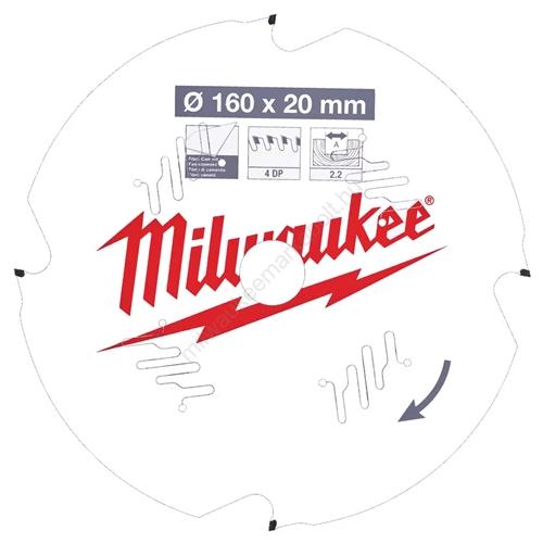 Milwaukee vezetékes és akkumulátoros kéziszerszámokhoz optimalizált körfűrészlap CSB P FC 160 x 20 x 2,2 x 4D   (4932471293)