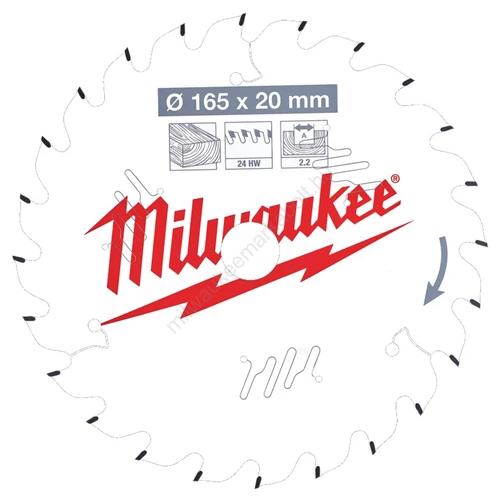 Milwaukee vezetékes és akkumulátoros kéziszerszámokhoz optimalizált körfűrészlap CSB P W 165 x 20 x 2,2 x 24ATB  | (4932471294)