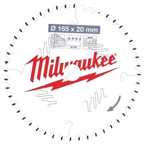 Milwaukee vezetékes és akkumulátoros kéziszerszámokhoz optimalizált körfűrészlap CSB P W 165 x 20 x 2,2 x 48ATB | (4932471295)