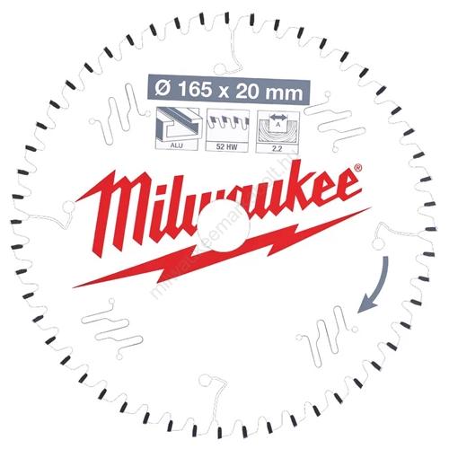 Milwaukee vezetékes és akkumulátoros kéziszerszámokhoz optimalizált körfűrészlap CSB P Alu165 x 20 x 2,2 x 52TF neg.   (4932471296)