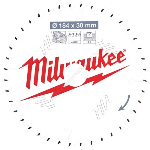 Milwaukee vezetékes és akkumulátoros kéziszerszámokhoz optimalizált körfűrészlap CSB P W 184 x 30 x 2,1 x 40ATB | (4932471298)