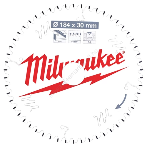 Milwaukee vezetékes és akkumulátoros kéziszerszámokhoz optimalizált körfűrészlap CSB P Alu184 x 30 x 2,4 x 54TF neg. | (4932471299)