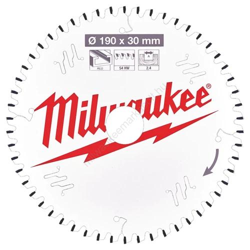 Milwaukee vezetékes és akkumulátoros kéziszerszámokhoz optimalizált körfűrészlap CSB P Alu190 x 30 x 2,4 x 54TF neg.   (4932471303)