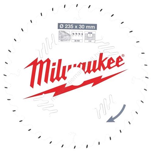 Milwaukee vezetékes és akkumulátoros kéziszerszámokhoz optimalizált körfűrészlap CSB P W 235 x 30 x 2,4 x 36ATB | (4932471306)