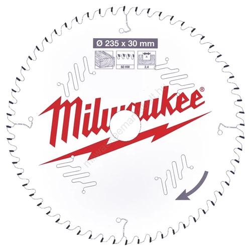 Milwaukee vezetékes és akkumulátoros kéziszerszámokhoz optimalizált körfűrészlap CSB P W 235 x 30 x 2,4 x 60ATB | (4932471308)