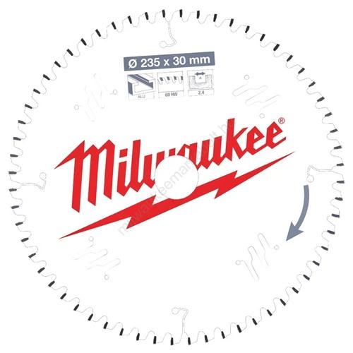Milwaukee vezetékes és akkumulátoros kéziszerszámokhoz optimalizált körfűrészlap CSB P Alu235 x 30 x 2,4 x 60TF neg. | (4932471309)