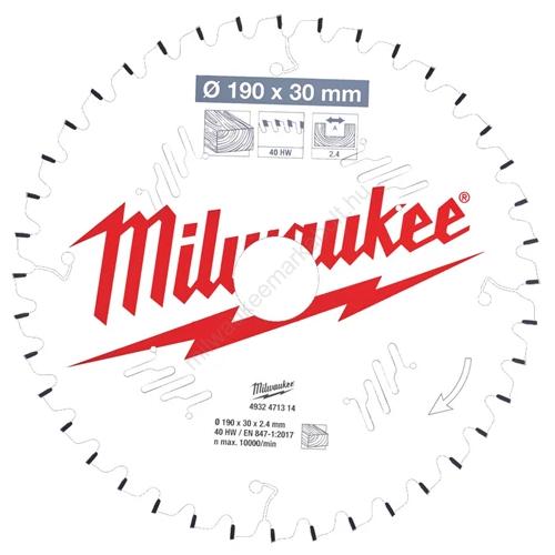 Milwaukee körfűrészlap gérvágókhoz CSB MS W 190 x 30 x 2,4 x 40ATB neg. | (4932471314)