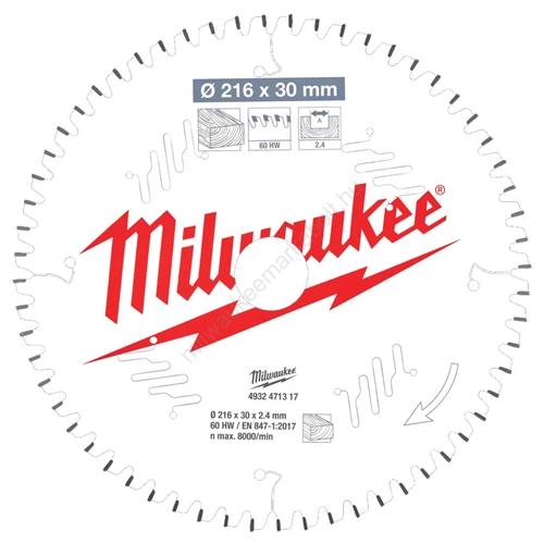 Milwaukee körfűrészlap gérvágókhoz CSB MS W 216 x 30 x 2,4 x 60ATB neg.   (4932471317)