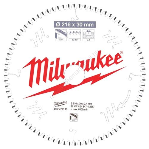 Milwaukee körfűrészlap gérvágókhoz CSB MS Alu216 x 30 x 2,4 x 80TF neg.| (4932471319)