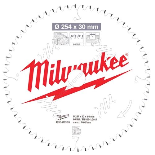 Milwaukee körfűrészlap gérvágókhoz CSB MS W 254 x 30 x 3,0 x 60ATB neg.   (4932471320)
