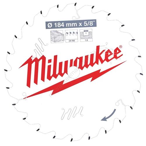 Milwaukee vezetékes és akkumulátoros kéziszerszámokhoz optimalizált körfűrészlap CSB P W 184 x 5/8 x 1,6 x 24ATB   (4932471378)