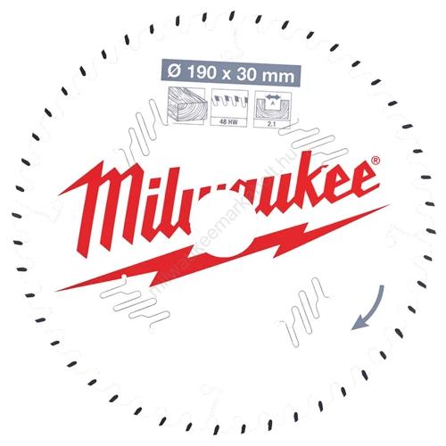 Milwaukee vezetékes és akkumulátoros kéziszerszámokhoz optimalizált körfűrészlap CSB P W 190 x 30 x 2,1 x 48ATB | (4932471380)