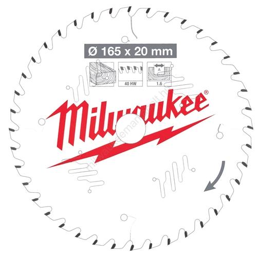 Milwaukee körfűrészlap kézi körfűrészekhez, CSB P W 165 x 20 x 1.6 x 40ATB | 4932471932