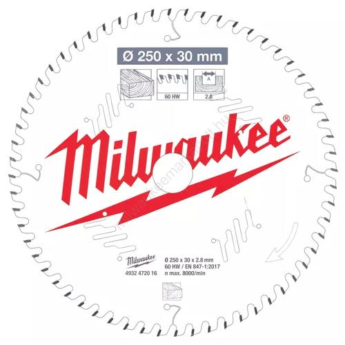 Milwaukee körfűrészlap gérvágóhoz, CSB MS W 250x30x2.8x60ATB | 4932472016