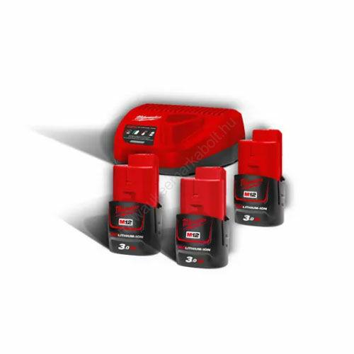 Milwaukee M12™ NRG pack, 3 x M12 B3 akkumulátor, C12 C Töltő   M12 NRG-303 (4933459207)