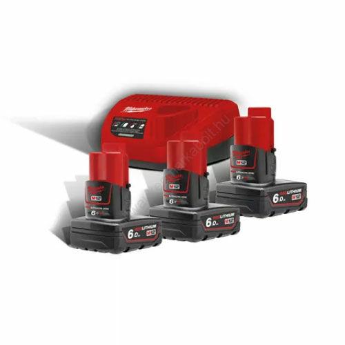 Milwaukee M12™ NRG pack, 3 x M12 B6 akkumulátor, C12 C Töltő | M12 NRG-603 (4933459208)