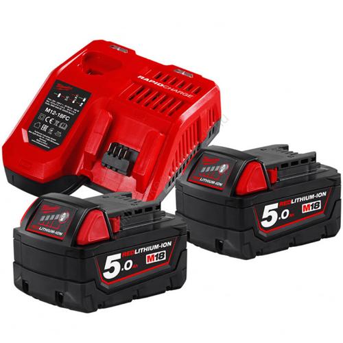Milwaukee 2 x 5.0 Ah akkumulátor, M12-18 FC Töltő   M18 NRG-502 (4933459217)
