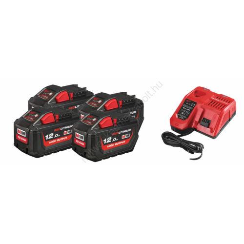 Milwaukee akkumulátor szett, 4 × M18 12.0 Ah akku és 1× M12-18 FC töltő | SZETT 10