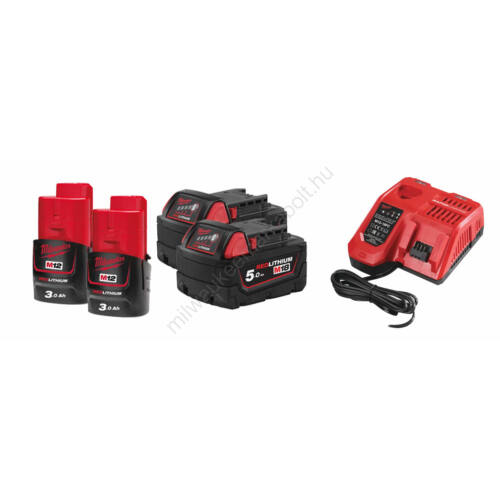 Milwaukee akkumulátor szett, 2 × M12 3.0 Ah akku, 2 × M18 5.0 Ah akku, 1 × M12-18 FC töltő | SZETT 13